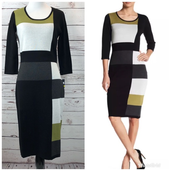 befbd9f0a2 GABBY SKYE Colorblock Sweater Dress Large